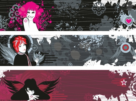 Three grunge banners with faces of girls and a place for the text