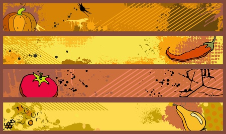grungy header: Set orange banners with a different grunge texture