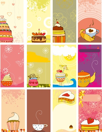 fruitcakes: Set vector cards with sweets Illustration