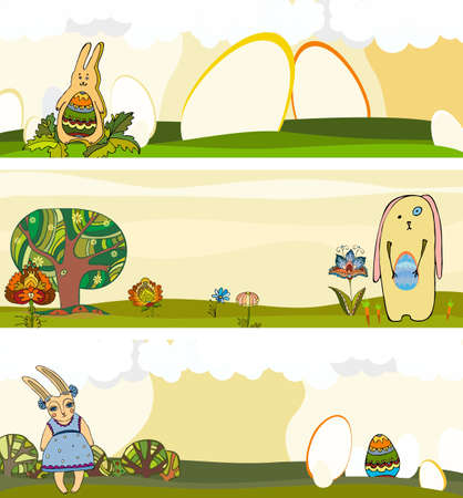 Easter banners set with rabbit and egg Vector