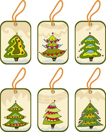 firtree: Set christmas tags  with the decorated firtrees Illustration