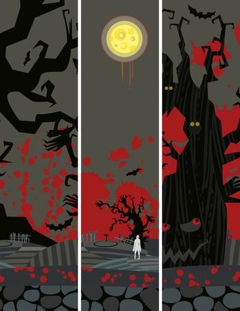 zombie: halloween  grunge banners set Illustration