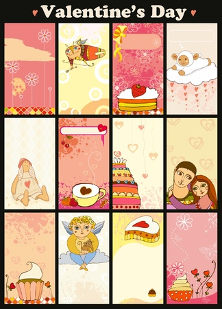 Set of love pink vertical cards  Valentine Vector