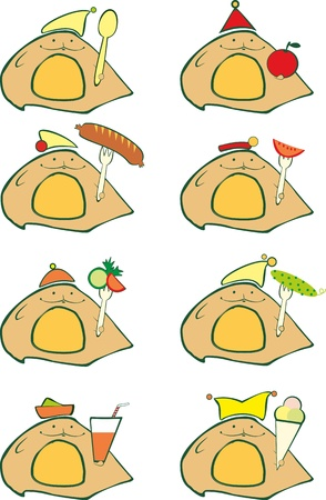 specific: Set of icons for cafe or grocery shop Illustration