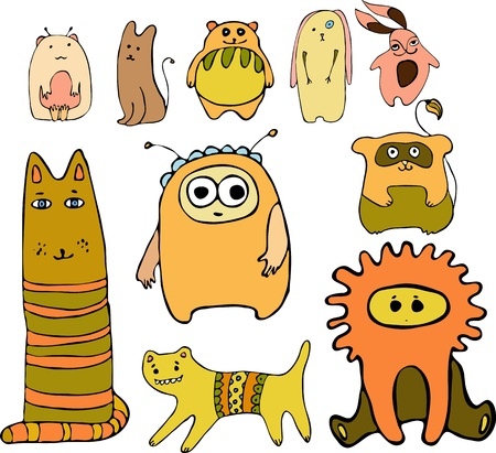 Set of different amusing animals Vector