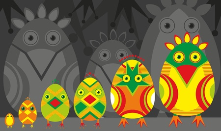 multi coloured: Amusing family of birdies Illustration