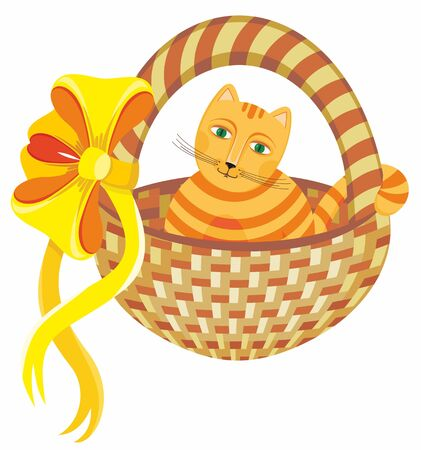 gift basket: Nice cat in a basket with a yellow bow on a white background
