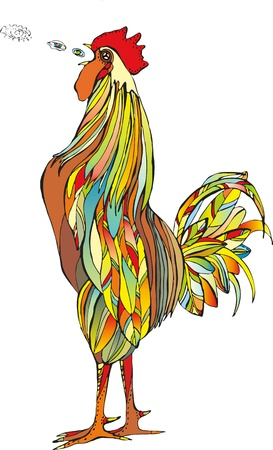 The bright multi-coloured cock shouts Stock Vector - 12942977