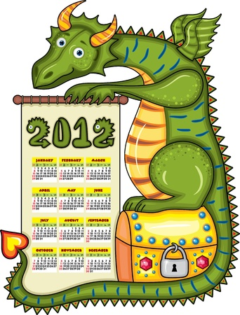2012 calendar  Green dragon sits on a gold chest with a scroll in paws Vector