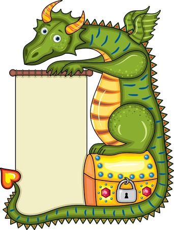 long tail: Green dragon sits on a gold chest with a scroll in paws