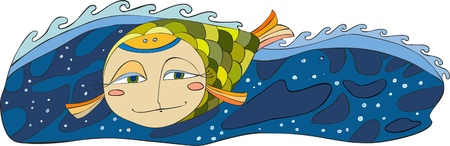 Green fish with a human face in the sea Illustration