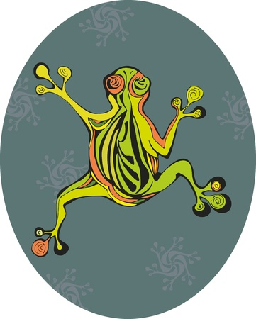 leapfrog: The striped frog creeps on a green background