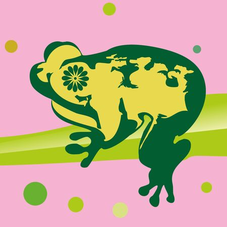 leapfrog: The green frog with yellow stains, sits on green leaf Illustration