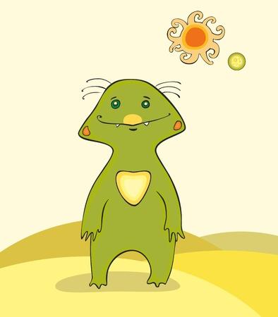 alien clipart: The green alien living in desert with two sun