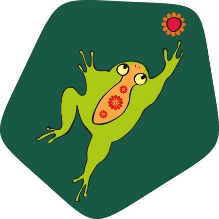 reaches: green frog reaches for a red flower