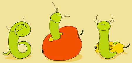 amusing: Three green amusing worms eat red apples