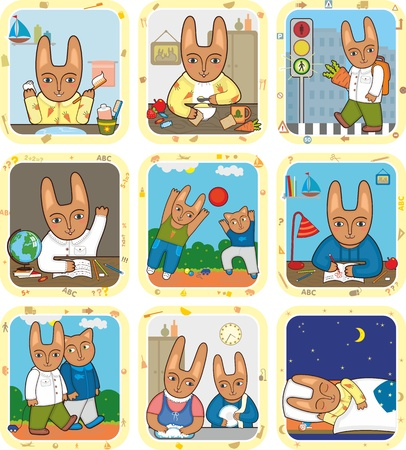 Schedule of day of a little hare Vector