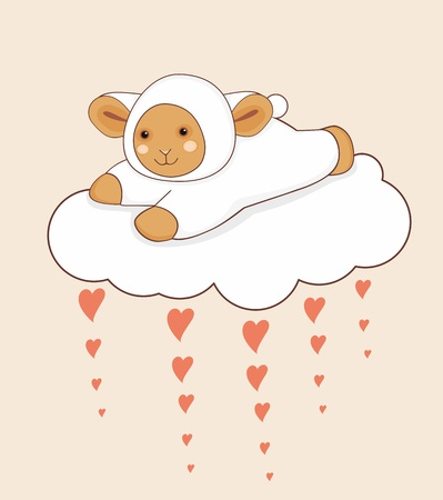Little lamb flying on a love cloud