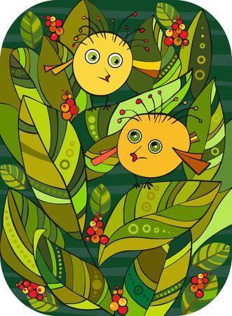 Two amusing round yellow birdies among green foliage Vector