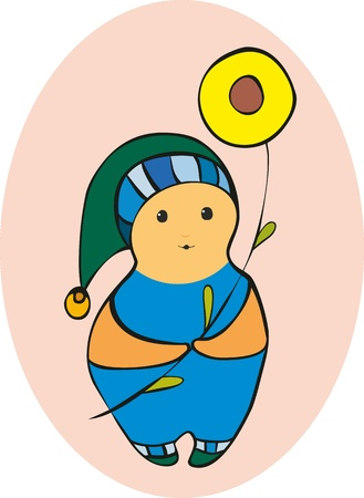 rotund: little fantastic man in a cap with a flower