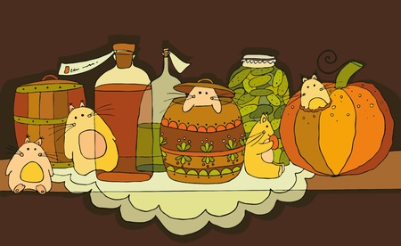 pantry: Little rodents on a shelf with products Illustration