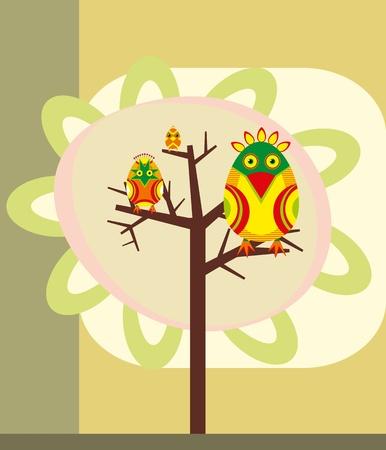 Three bright birds sit on tree branches Vector