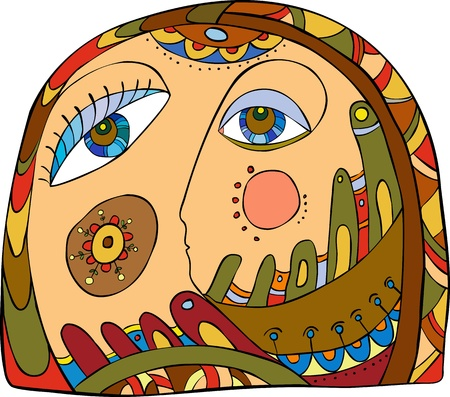 abstract face of the girl with a beautiful ornament