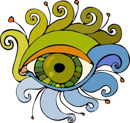 twirled: Occhio con le ciglia girava su uno sfondo bianco