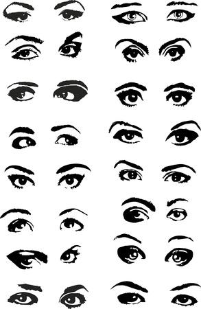 eyes: Satz von verschiedenen weiblichen Augen auf wei�em Hintergrund Illustration