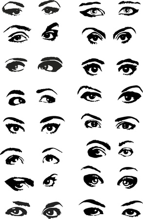 eye closeup: Set of different female eyes on a white background Illustration