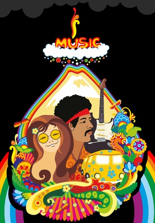 The concept of music of 70th years. The woman and the man, a guitar, the car, volcano eruption  Vector