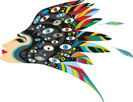 hair feathers: Fantastic girls face in a profile with black eyes isolated on white Illustration