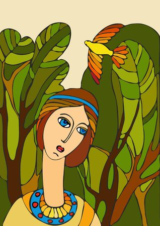 nature woman: Portrait of the girl against wood and a flying bird