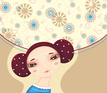 hairdo: Face of the young beautiful girl on a decorative flower background