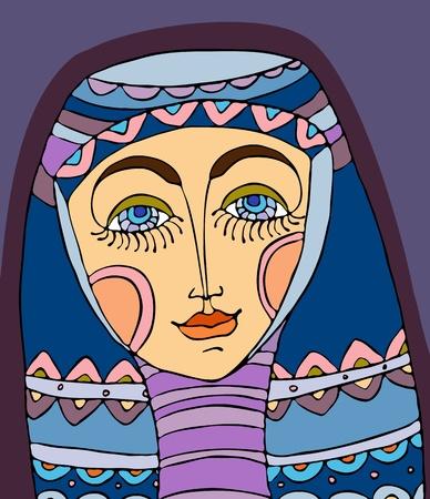 kopftuch: Portr�t des M�dchens in einem violetten Kopftuch Illustration