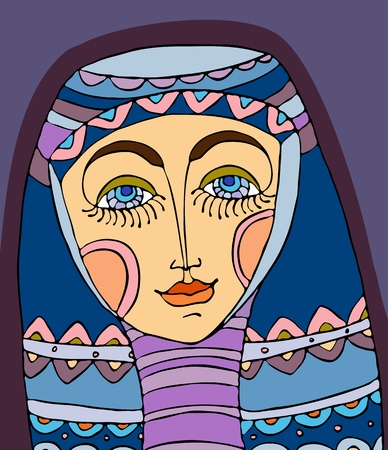 human face: Portrait of the girl in a violet headscarf Illustration