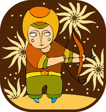 amused: Young archer shooting from bow Illustration
