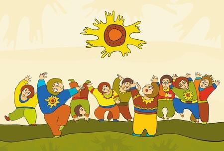 Dancing people under the sun Stock Vector - 13223995