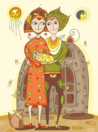 Happy parents with the child on hands near the house Illustration