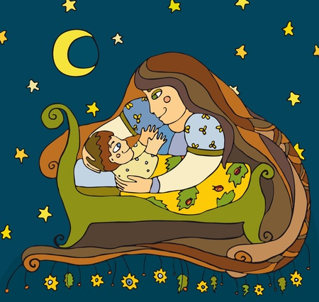 cradle: Mother near a bed of the child
