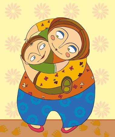 family clipart: Madre tiene il figlio sulle mani