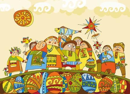 family clipart: La gente alla fiera celebrativo in vestiti nazionali