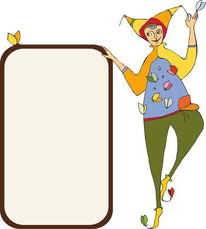 The amusing clown near the poster Stock Vector - 13264715