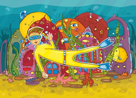 Underwater life. The fantastic underwater world with sea inhabitants and the diver diving to get pearls Vector