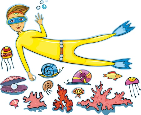 The diver in a yellow suit with a pearl in hands and sea inhabitants on a white background. Elements for design Vector