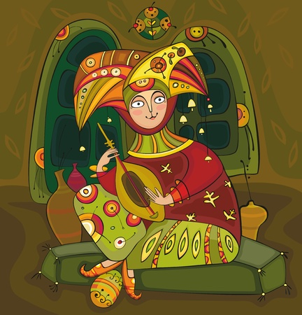 bard: The musician in bright colour clothes plays a guitar sitting on soft pillows Illustration