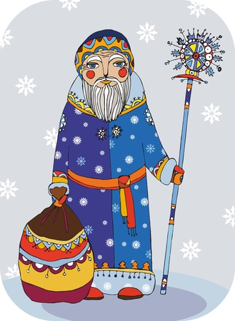 Grandfather Frost with a staff and a bag of gifts Vector