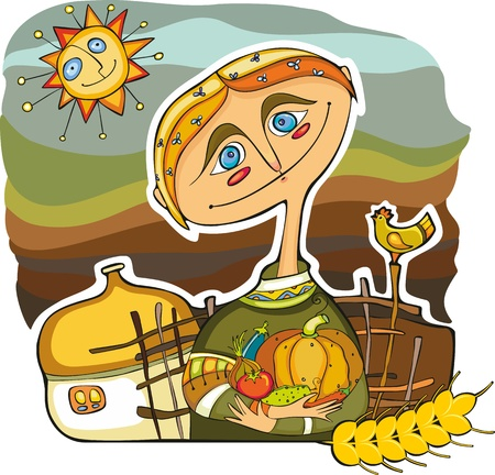 The cheerful farmer near the house with a crop Stock Vector - 13264737