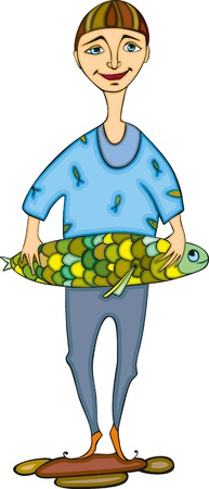 blue shirt: fisherman in a blue shirt with the big fish in hands