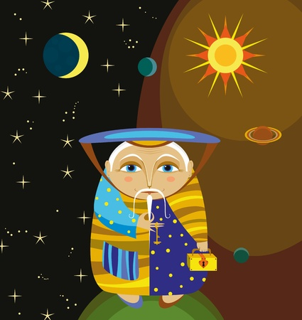 The old wizard with gold chests in space Vector